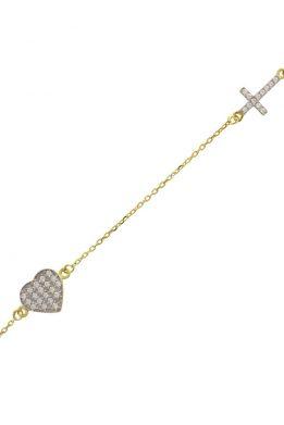 Χρυσό Βραχιόλι Σταυρός Με Καρδιά Και Λευκά Ζιργκόν