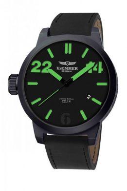 Ρολόι HAEMMER Με Μαύρο Λουράκι Και Πράσινους Δείκτες
