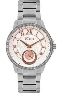Ρολόι JCOU Royal Crystals Three Hands Με Ασημί Μπρασελέ