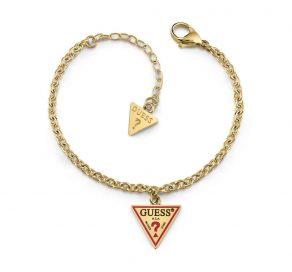 Βραχιόλι Guess Steel Με Τρίγωνο Λογότυπο Σε Χρυσό Χρώμα