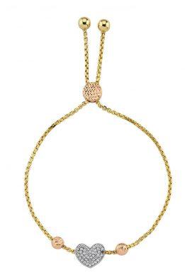 Χρυσό Βραχιόλι Καρδιά Με Ροζ Χρυσές Μπίλιες Και Ζιργκόν
