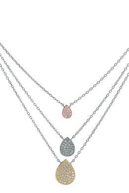 Ασημένιο Κολιέ Με Τρεις Αλυσίδες Με Δάκρυ Στη Κάθε Μία Στολισμένα Από Πέτρες Ζιργκόν