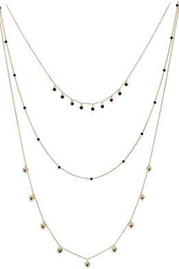 Ασημένιο Κολιέ Επιχρυσωμένο Με Τρεις Αλυσίδες Στολισμένο Από Καρδιές Και Μαύρες Πέτρες Ζιργκόν