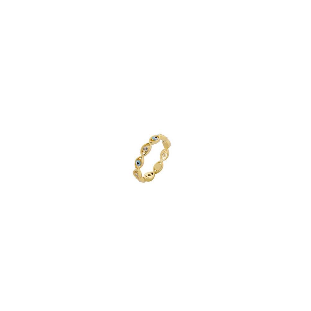 Ασημένιο Δαχτυλίδι Χρυσό Με Ματάκι Από Σμάλτο Και Πέτρες Ζιργκόν
