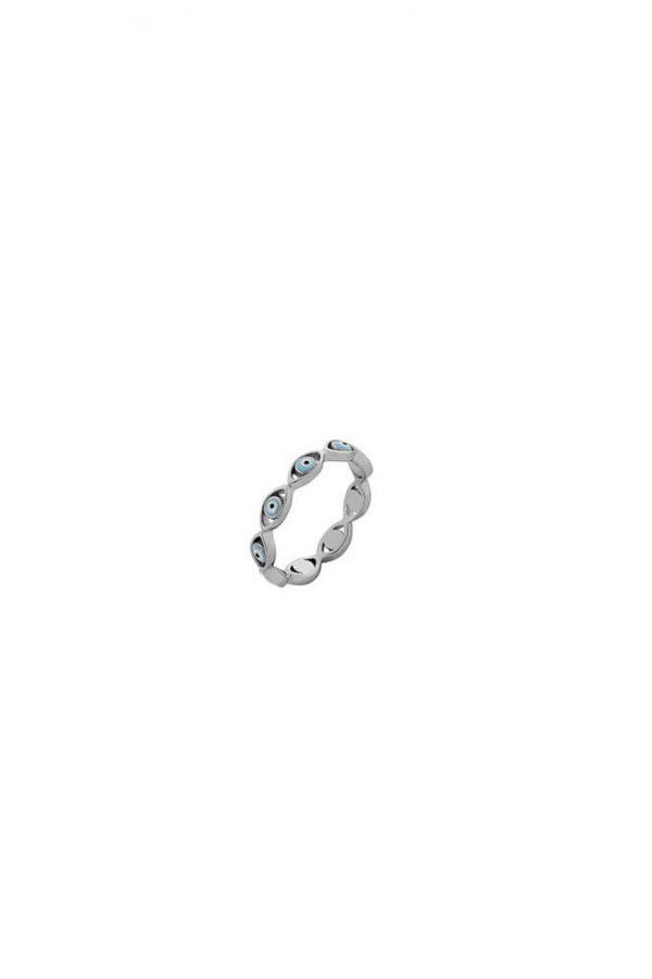 Ασημένιο Δαχτυλίδι Με Ματάκι Από Σμάλτο Και Πέτρες Ζιργκόν