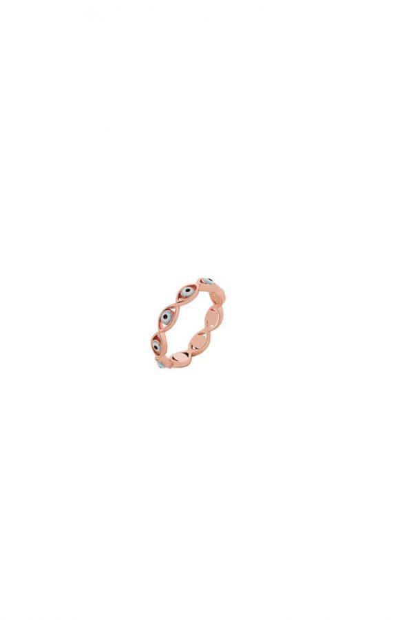 Ασημένιο Δαχτυλίδι Ροζ Με Ματάκι Από Σμάλτο Και Πέτρες Ζιργκόν