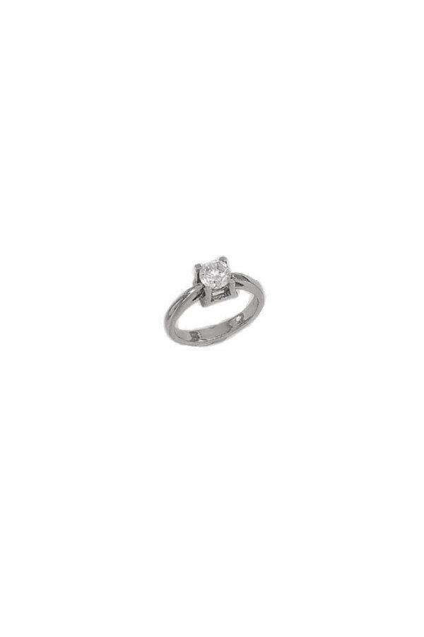 Δαχτυλίδι Μονόπετρο Λευκόχρυσο 14Κ Με Άσπρη Πέτρα Ζιργκόν