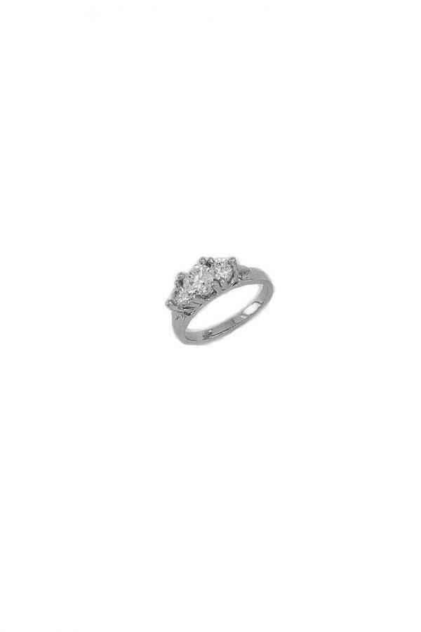 Δαχτυλίδι Μονόπετρο Λευκόχρυσο 14Κ Με Τρεις Μεγάλες Πέτρες Ζιργκόν