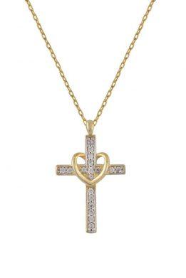 Χρυσό Κολιέ 14Κ Με Χρυσό Σταυρό Από Άσπρες Πέτρες Ζιργκόν Και Καρδιά