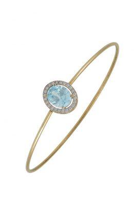 Χρυσό Βραχιόλι 14Κ Με Μεγάλη Γαλάζια Πέτρα Ζιργκόν Και Γύρω Άσπρες Μικρές
