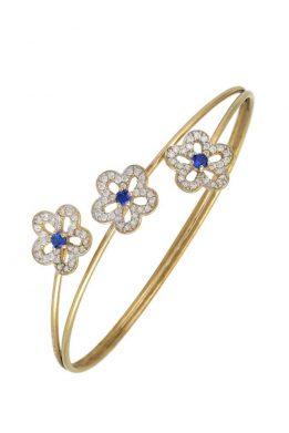 Χρυσό Βραχιόλι 14Κ Με Τρία Λουλούδια Με Μπλε Και Άσπρες Πέτρες Ζιργκόν