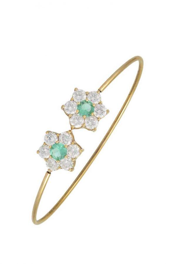 Χρυσό Βραχιόλι 14Κ Με Δύο Λουλούδια Με Πράσινες Και Άσπρες Πέτρες Ζιργκόν