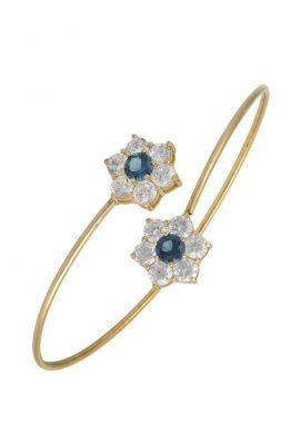 Χρυσό Βραχιόλι 14Κ Με Δύο Λουλούδια Με Μπλε Και Άσπρες Πέτρες Ζιργκόν