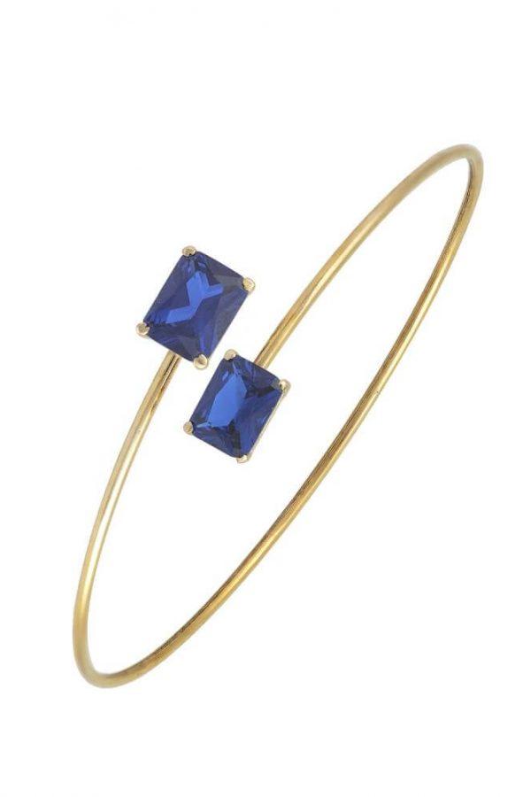 Χρυσό Βραχιόλι 14Κ Σε Μοντέρνο Σχέδιο Με Δύο Μεγάλες Τετράγωνες Μπλε Πέτρες Ζιργκόν