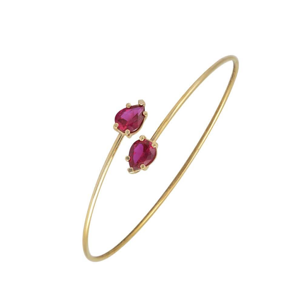 Χρυσό Βραχιόλι 14Κ Σε Μοντέρνο Σχέδιο Με Δύο Μεγάλες Ροζ Πέτρες Ζιργκόν