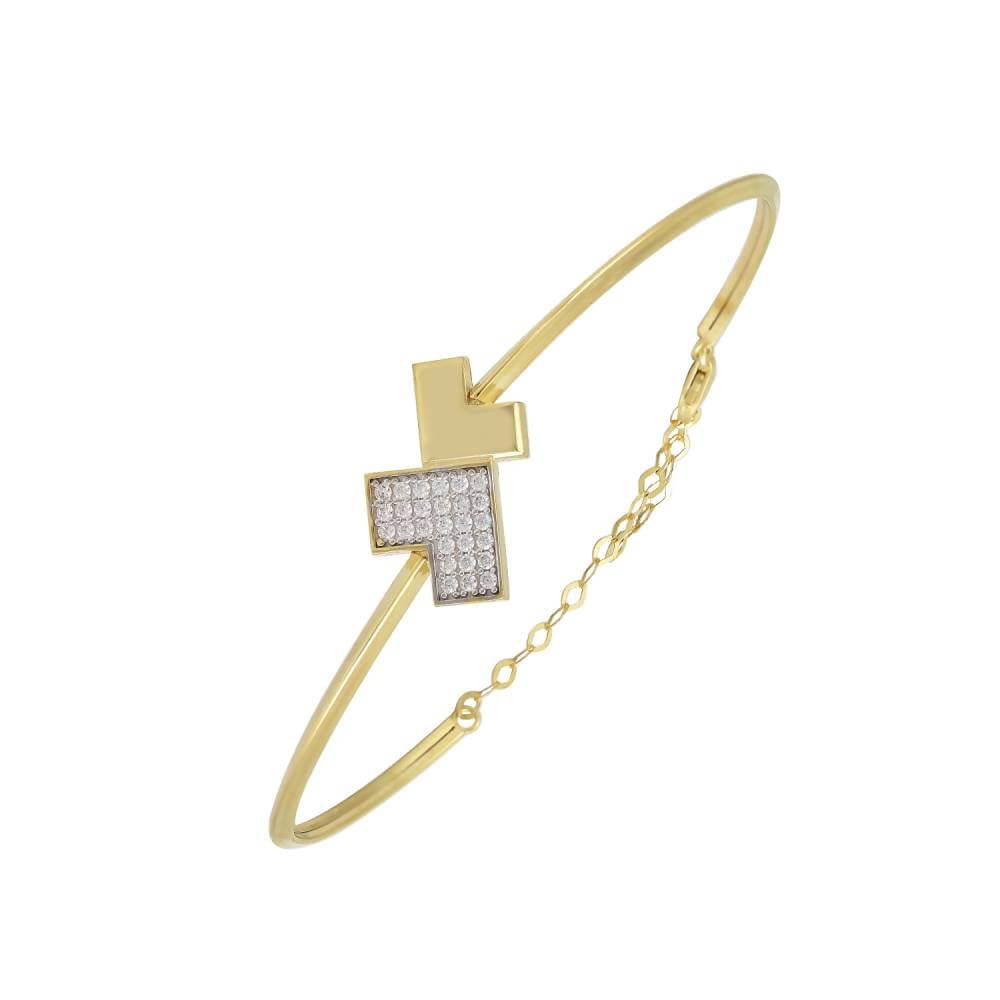 Χρυσό Βραχιόλι 14Κ Με Δύο Βέλη Το Ένα Με Άσπρες Πέτρες Ζιργκόν