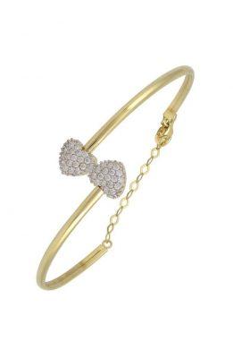 Χρυσό Βραχιόλι 14Κ Με Δύο Καρδιές Από Άσπρες Πέτρες Ζιργκόν