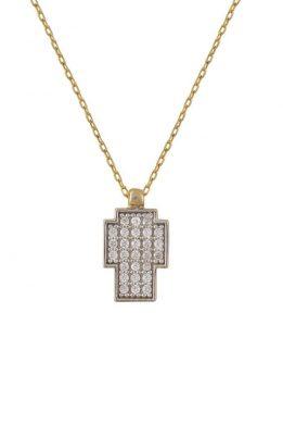Χρυσό Κολιέ 14Κ Με Σταυρό Από Άσπρες Πέτρες Ζιργκόν Σε Μοντέρνο Σχέδιο