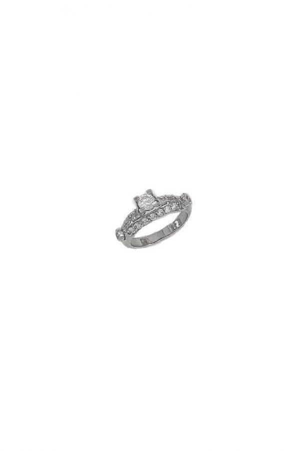 Δαχτυλίδι Μονόπετρο Λευκόχρυσο 14Κ Σκαλιστό Με Άσπρη Πέτρα Ζιργκόν