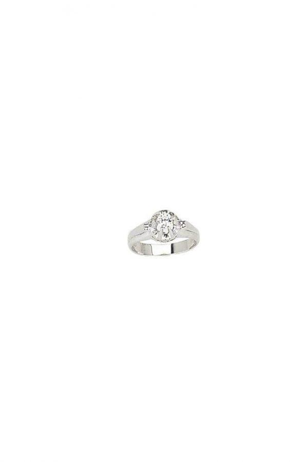 Δαχτυλίδι Μονόπετρο Λευκόχρυσο 14Κ Με Άσπρη Πέτρα Ζιργκόν Σε Μοντέρνο Σχέδιο