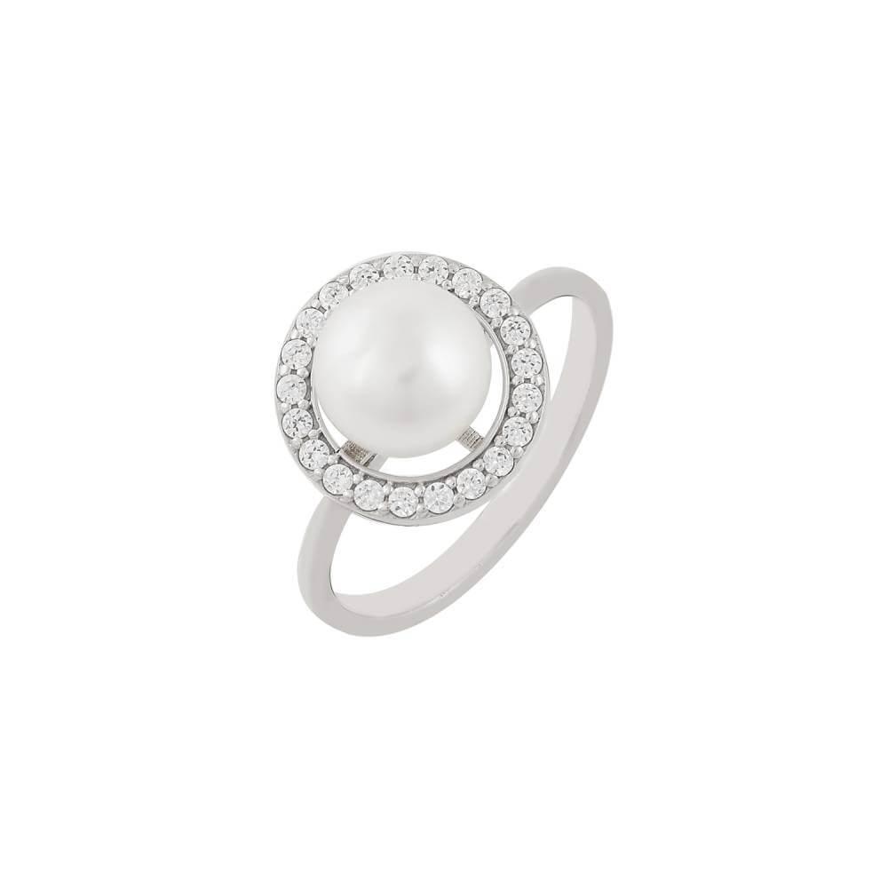 Μαργαριταρένιο Δαχτυλίδι Με Πέτρες Ζιργκόν Γύρω