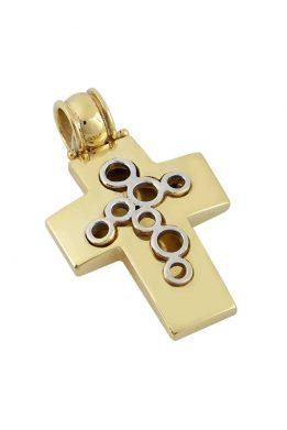 Χρυσός Δίχρωμος Σταυρός Βαφτιστικός