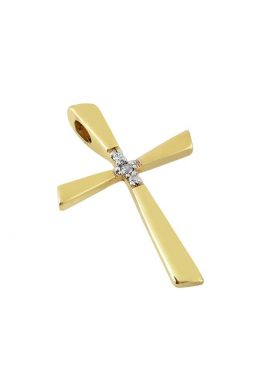 Χρυσός Σταυρός Βαφτιστικός Με Πέτρες Ζιργκόν