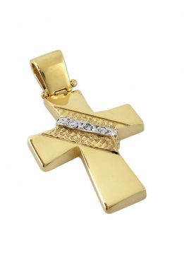 Χρυσός Σταυρός Βαφτιστικός Δίχρωμος Με Πέτρες Ζιργκόν