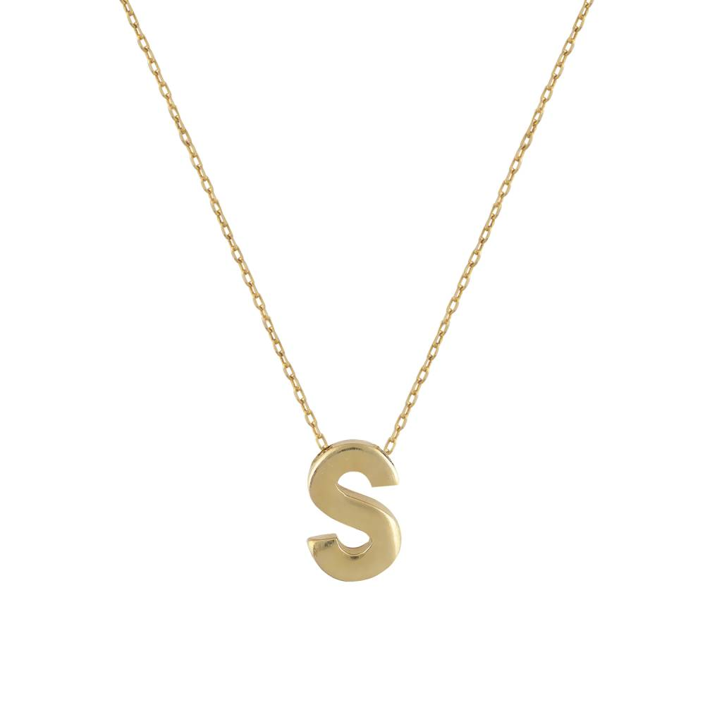 """Χρυσό Κολιέ Μονόγραμμα """"S"""""""