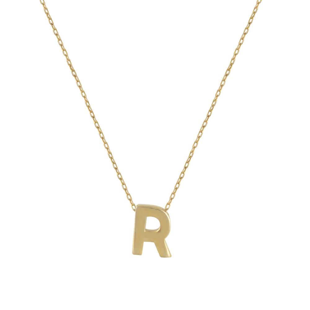 """Χρυσό Κολιέ Μονόγραμμα """"R"""""""