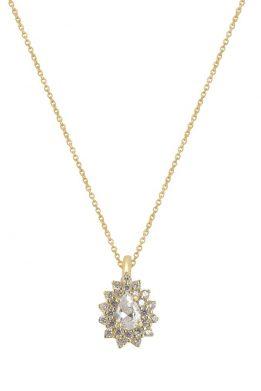 Χρυσό Κολιέ Ροζέτα 14Κ Με Άσπρη Πέτρα Ζιργκόν Και Λευκά Ζιργκόν Περιφερειακά