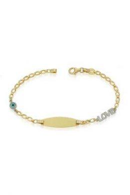 Χρυσό Βραχιόλι Χειροπέδα 9Κ Με Γαλάζιο Ματάκι Και Λευκόχρυσο LOVE