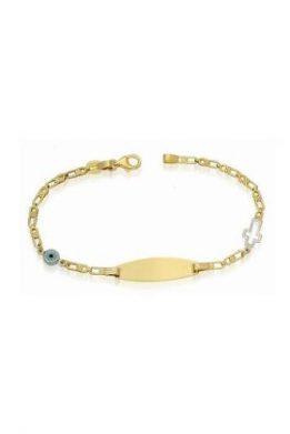 Χρυσό Βραχιόλι Χειροπέδα 9Κ Με Γαλάζιο Ματάκι Και Λευκόχρυσο Σταυρό