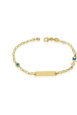 Χρυσό Βραχιόλι Χειροπέδα 9Κ Με Γαλάζιο Ματάκι Και Αγόρι