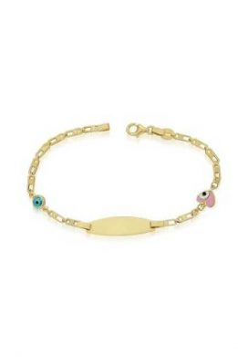 Χρυσό Βραχιόλι Χειροπέδα 9Κ Με Γαλάζιο Ματάκι Και Ροζ Καρδιά