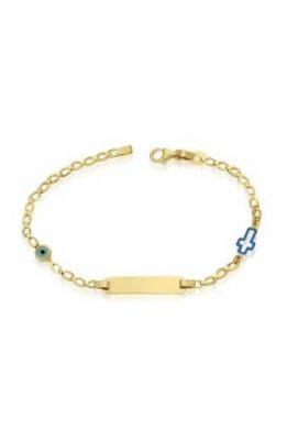 Χρυσό Βραχιόλι Χειροπέδα 9Κ Με Γαλάζιο Ματάκι Και Σταυρό