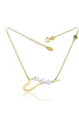 Χρυσό Κολιέ 9Κ Με Όνομα Αλέξανδρος Και Πράσινο Ματάκι Στο Πλάι
