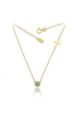 Χρυσό Κολιέ 9Κ Με Στρογγυλό Γαλάζιο Ματάκι Και Χρυσό Σταυρό Και Πέτρες Ζιργκόν