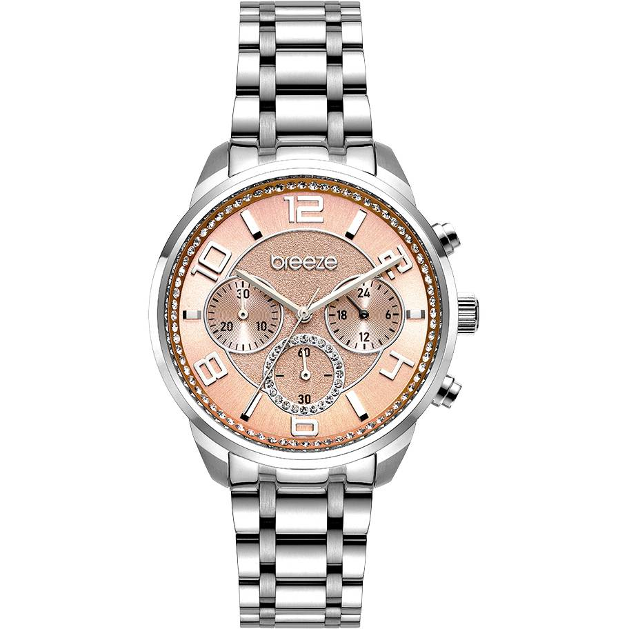 BREEZE Myrina Crystals Chronograph Silver Stainless Steel Bracelet