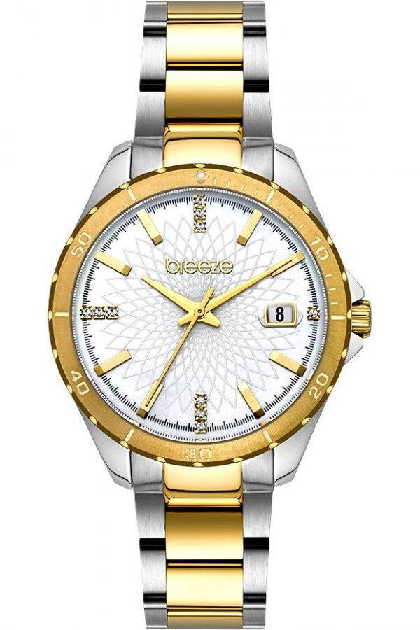 BREEZE MantaRay Crystals Two Tone Stainless Steel Bracelet