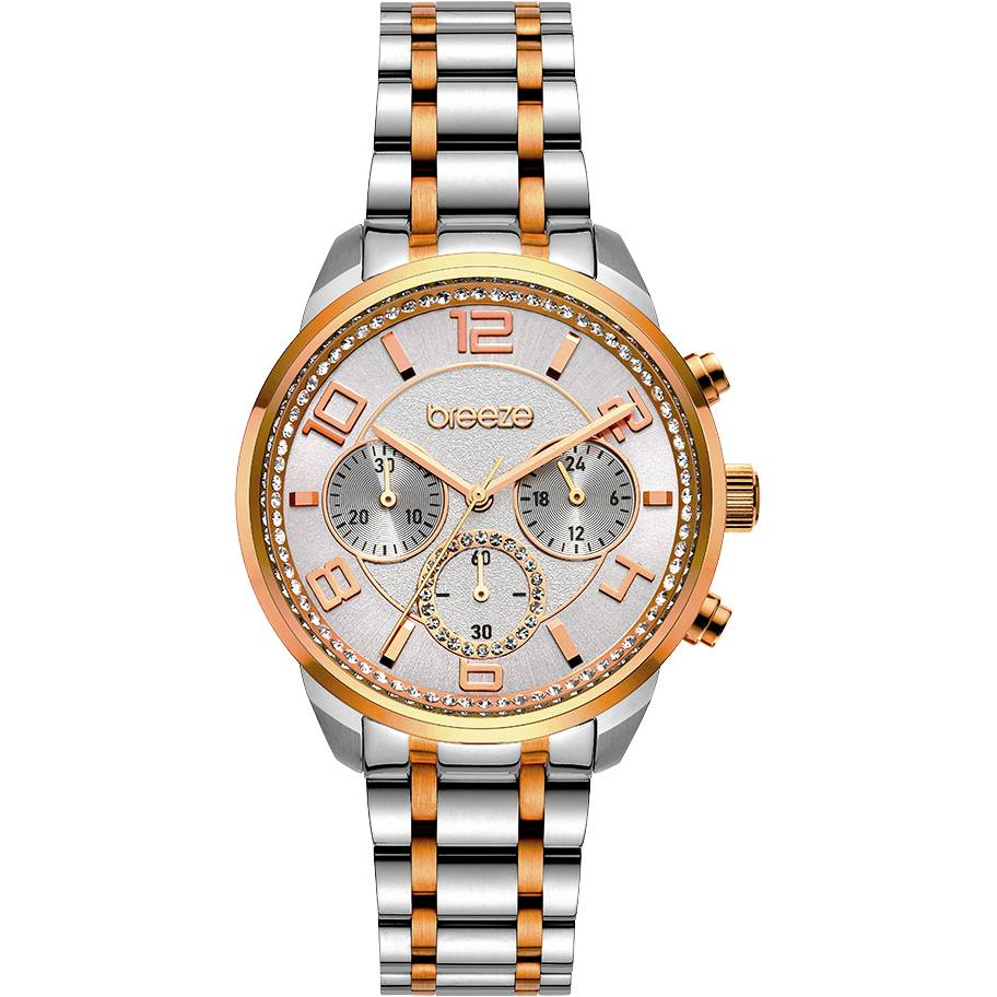 BREEZE Myrina Crystals Chronograph Two Tone Stainless Steel Bracelet