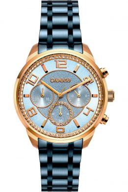 BREEZE Myrina Crystals Chronograph Blue Stainless Steel Bracelet