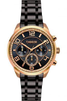 BREEZE Myrina Crystals Chronograph Black Stainless Steel Bracelet