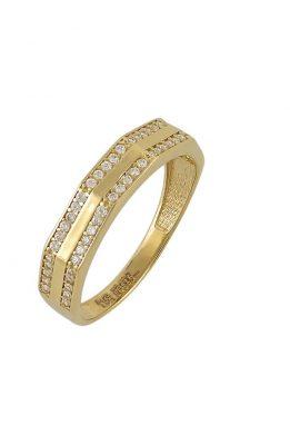 Χρυσό Δαχτυλίδι Με Μοντέρνο Σχέδιο Και Πέτρες Ζιργκόν O-D6144