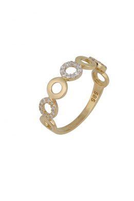 Χρυσό Δαχτυλίδι Με Μοντέρνο Σχέδιο Και Πέτρες Ζιργκόν O-D6146