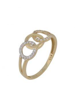 Χρυσό Δαχτυλίδι Με Καρδιές Και Πέτρες Ζιργκόν O-D6147