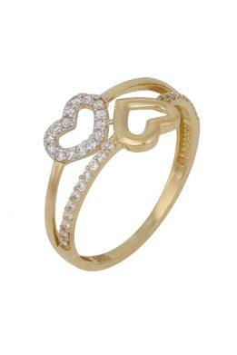 Χρυσό Δαχτυλίδι Με Καρδιές Και Πέτρες Ζιργκόν O-D6148