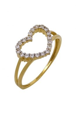 Χρυσό Δαχτυλίδι Με Καρδιά Και Πέτρες Ζιργκόν O-D6149