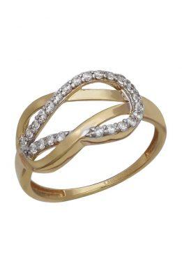 Χρυσό Δαχτυλίδι Με Μοντέρνο Σχέδιο Και Πέτρες Ζιργκόν O-D6150