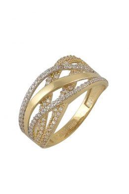 Χρυσό Δαχτυλίδι Με Μοντέρνο Σχέδιο Και Πέτρες Ζιργκόν O-D6151